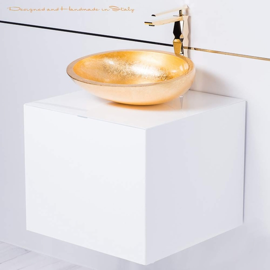 20 inch white lacquer bathroom vanity with gold vessel sink combo