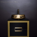 24 inch gold bathroom vanity and gold leaf vessel sink combo