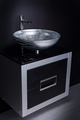 24 inch leather front bathroom vanity and sink combo | Black and Silver