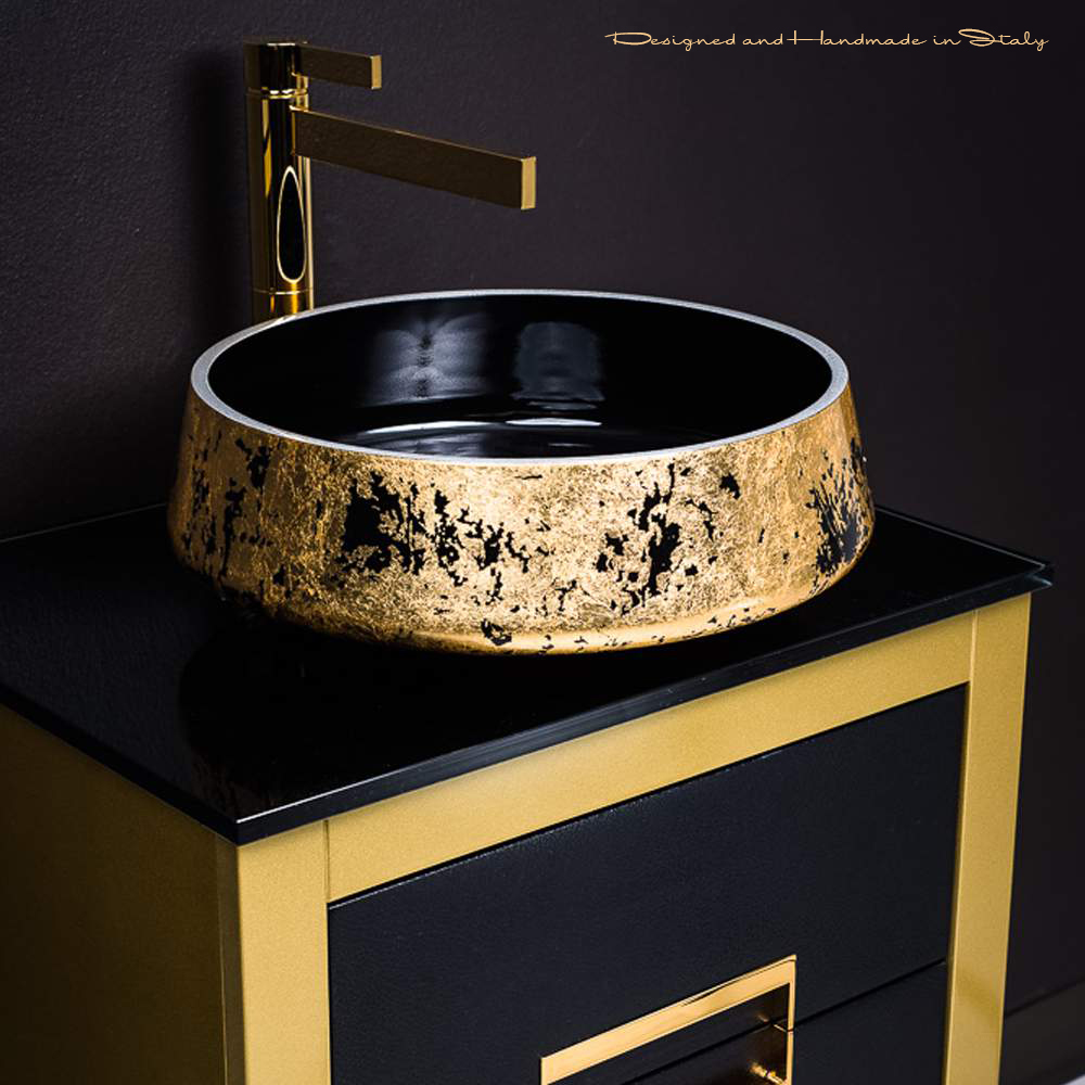 Ordinaire 24 Inch Gold Bathroom Vanity And Gold Leaf Vessel Sink Combo