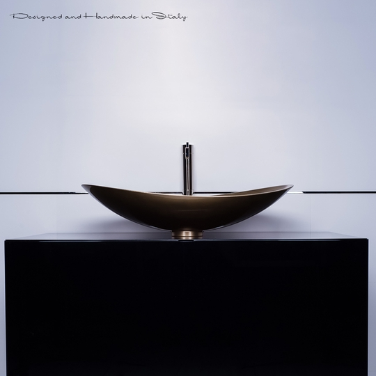 Modern vessel sink and faucet combo | Champagne