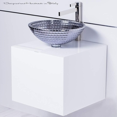 Modern Mosaic Vessel Sink With Polished Chrome Faucet Combo