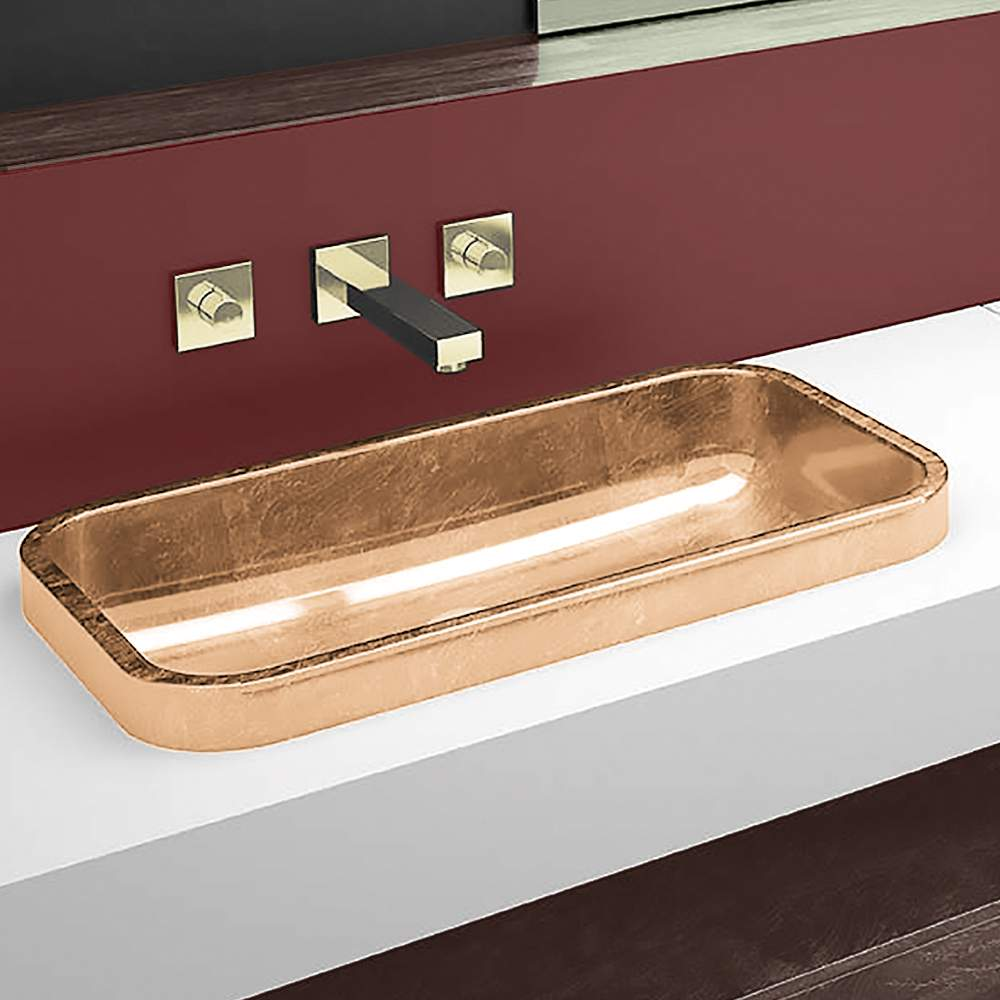 Bathroom sink rectangular - Rectangular Drop In Bathroom Sink Gold Leaf