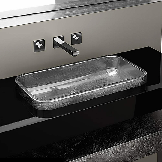 Vetrofreddo Drop-in Bathroom Sink | Silver Leaf