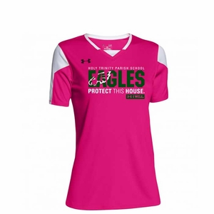 Holy Trinity Eagles Protect This House Girls UA Top, Tropical Pink