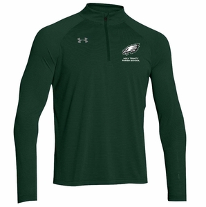 HT Mens UA Stripe Tech 1/2 zip Pullover, Forest Green