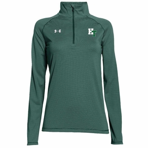 HT Womens UA Stripe Tech 1/2 zip pullover, Forest Green