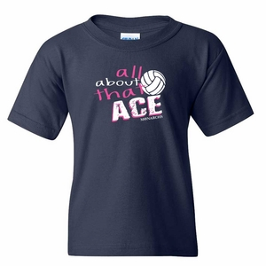 SMA All About That Ace Design Youth 100% Cotton Tee, Navy
