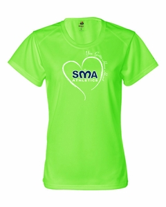 SMA Athletics GOTTA HAVE HEART Design Ladies Performance Tee Neon Green
