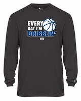 SMA Basketball Everyday I'm Dribblin design Youth L/S Performance Tee Graphite