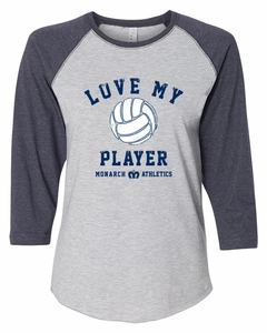 SMA Love My Player Ladies' 34-Sleeve Baseball Tee, Heather/Navy