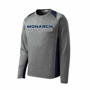 SMA Monarch Athletics Design Adult LS Performance Tee, Heather/Navy