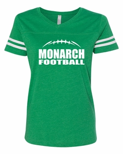 SMA Monarch Football Ladies' V-Neck Tee, Vintage Green