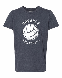 SMA Monarchs Volleyball Youth SS Tee, Heather Navy