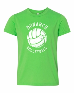 SMA Monarchs Volleyball Youth SS Tee, Neon Green