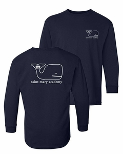SMA Monarchs Whale design youth L/S Tee Navy
