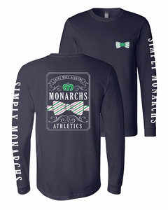 SMA Simply Monarchs Adult LS Tee, Navy