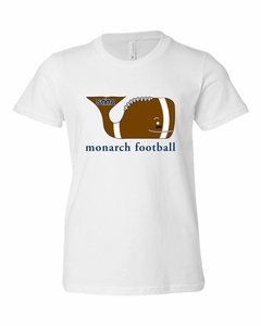 SMA Whale Design Monarch Football Youth Tee, White