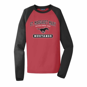SMM Collegiate design Adult Performance Colorblock crewneck fleece, red/black
