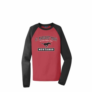 SMM Collegiate design Youth Performance Colorblock crewneck fleece, red/black