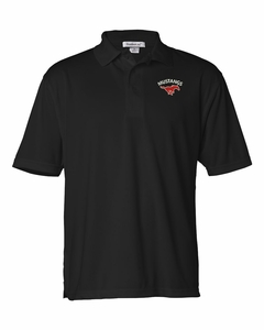 SMM Mustangs Mens Featherlite Performance Polo, Black