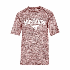 SMM Mustangs Youth Performance Blend shirt, red/black