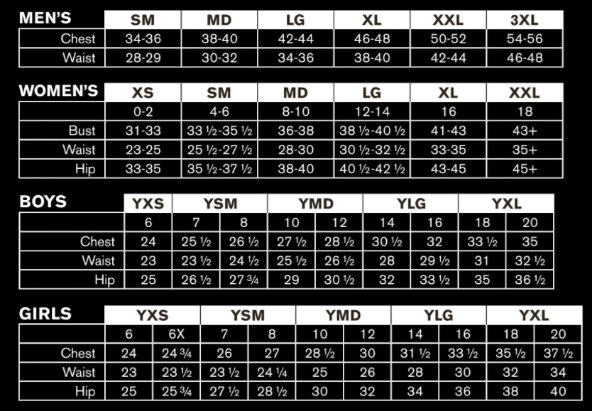Under armour sizing chart
