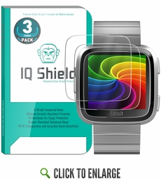 IQ Shield® Tempered Glass – Fitbit Versa Glass Screen Protector (3-Pack)