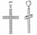 0.90 Carat Men's Diamond Cross Pendant, 14K White Gold