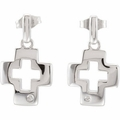 .015 ct Cross Earrings with Backs & Rhodium Plate