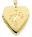 14K Gold-Filled Cross and Dove Heart Locket