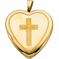 14K Gold Heart Locket w/Cross