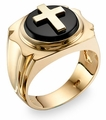 14K Gold Onyx Cross Ring