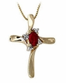 14K Gold Ruby Cross Diamond Pendant