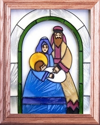 A Christmas Nativity Beneath Arch Stained Glass Art