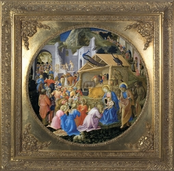Adoration of the Magi Canvas - Spandrel Framed Christian Art