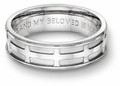 All Saints Cross Bible Verse Wedding Band Ring - 14k White Gold