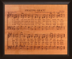Amazing Grace Framed Cherry Wood Sign
