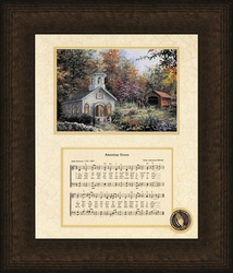 """Amazing Grace Song with Church Framed Art 8"""" x 10"""""""