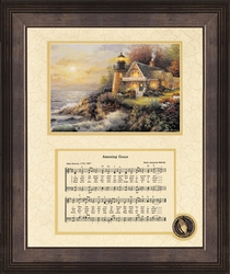 Amazing Grace Song with Lighthouse Framed Art - 4 Frames Available