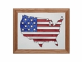 American Flag in US Outline Stained Glass Art Panel