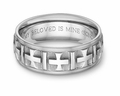 Ancient Cross Bible Verse Wedding Band Ring - 14k White Gold