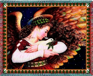 Angel and Dove Religious Tapestry Throw