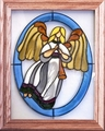 Angel with Christmas Horn Stained Glass Art