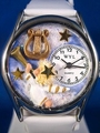 Angel with Harp Religious Silver Watch