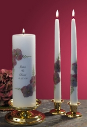 """Antique Hydrangea 3x9 Wedding Unity Candle and 12"""" Tapers"""