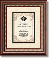 Appreciation For Our Minister Framed Tabletop Christian Verses