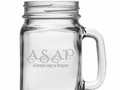 ASAP Sand Etched Drinking Jar W/Handle S/4