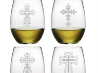 Assorted Crosses Sand Etched Glasses S/4