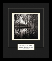 Be still before the Lord in Black Satin finish - Framed Christian Art